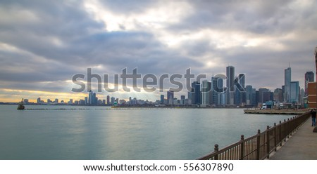 Skyline in Chicago from the docks on December 31 2016.