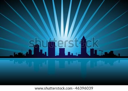 Skyline lights - stock photo