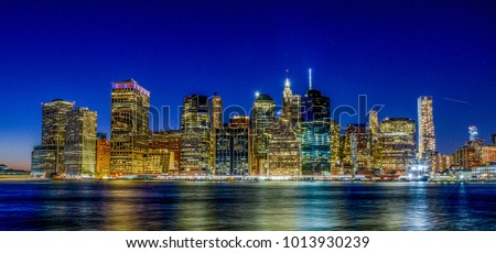 skyline new york city by night stock photo edit now 1013930239