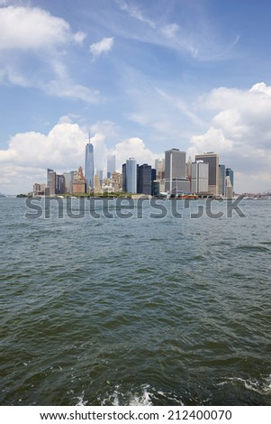 Skyline New York City, U.S.A. seen from Governors island - stock photo