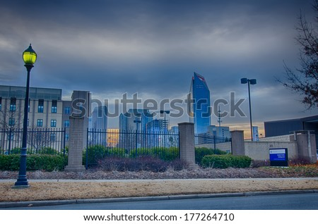 skyline of a big city in south - charlotte,nc - stock photo