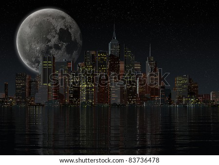 skyline of a city at night - stock photo