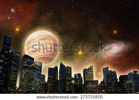 skyline of a futuristic city in outer space - stock photo