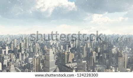 Skyline of a futuristic sci-fi city in a winter snowstorm, 3d digitally rendered illustration - stock photo