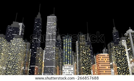 Skyline of a huge generic city isolated on a black background. 3D rendered Illustration.  - stock photo