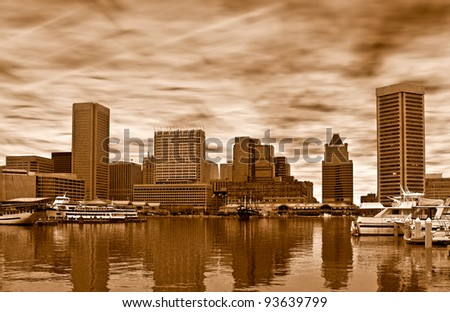 Skyline of Baltimore in sepia