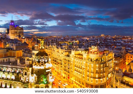 Skyline of beautiful Madrid at twilight. Spain