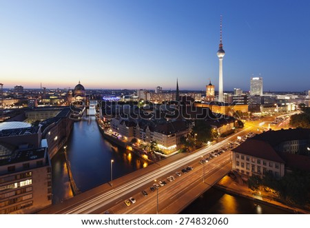 Skyline Of Berlin In Germany With TV Tower, Berlin Town Hall And Cathedral - stock photo