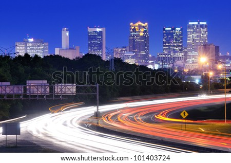 Skyline of Birmingham, Alabama from above Interstate 65. - stock photo
