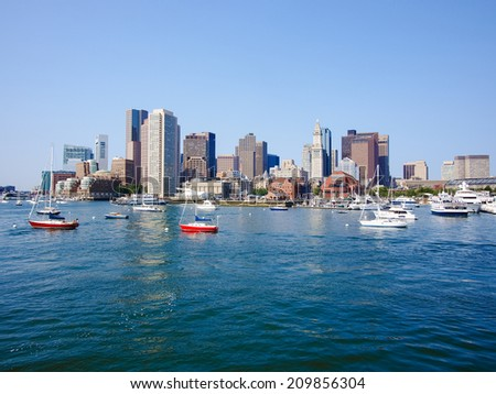 Skyline of Boston financial district - stock photo