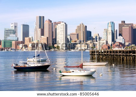 Skyline of Boston in Massachusetts. - stock photo
