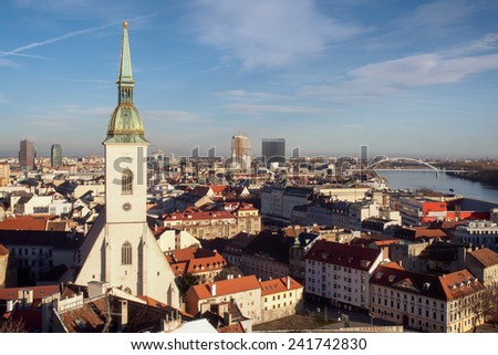 Skyline of Bratislava -  capital of Slovakia - stock photo