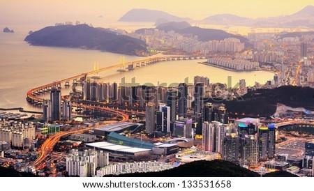 Skyline of Busan, South Korea at night. - stock photo