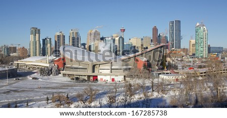 Skyline of Calgary, Alberta, Canada,  Picture taken December 7, 2013, on a very cold, but sunny winter day. - stock photo