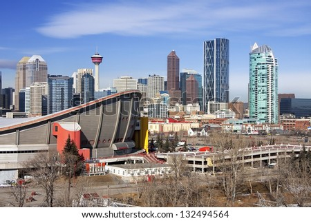 Skyline of Calgary, Alberta, Canada  Picture taken March 1, 2013 - stock photo