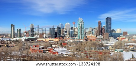 Skyline of Calgary, Alberta, Canada. Picture taken March 1, 2013 - stock photo
