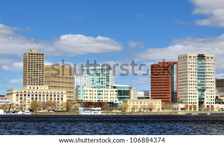 Skyline of Cambridge, Massachusetts from across the Charles River. - stock photo