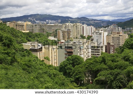 Skyline of Caracas city, capital city of Venezuela. - stock photo