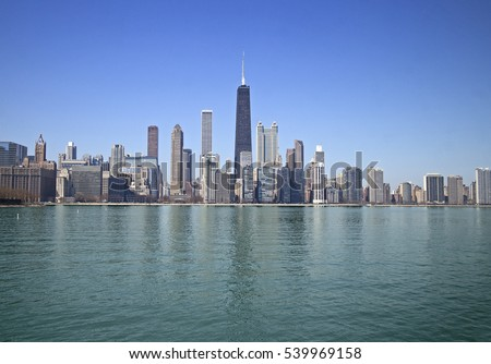 Skyline of Chicago downtown taken from the lake, USA