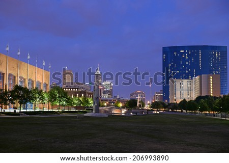 Skyline of city of Indianapolis at dusk - stock photo