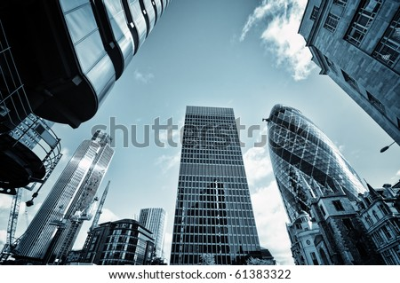 Skyline of  City of London,( Lloyds of London, Tower 42, Aviva and the Gherkin) - stock photo
