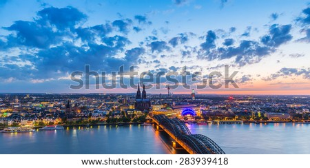skyline of cologne city at sunset, germany - stock photo