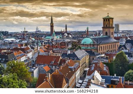 Skyline of Copenhagen, Denmark towards Church of our Lady. - stock photo