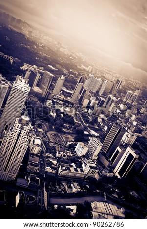 Skyline of dark dramatic colors city - stock photo