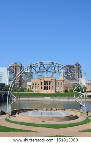 Skyline of Des Moines, Iowa from public amphitheater.  - stock photo