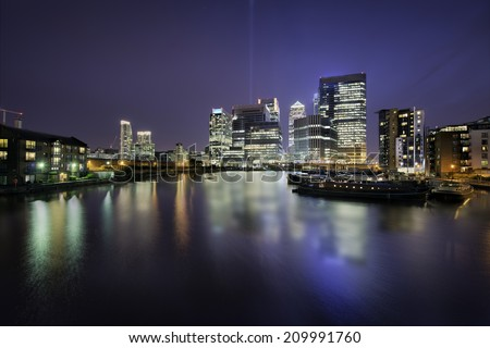 Skyline of Docklands, Canary Wharf, London, in a beautiful night - stock photo