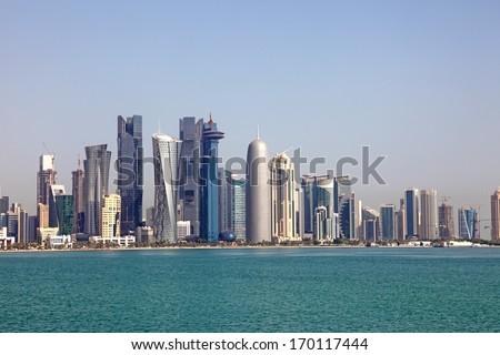 Skyline of Doha. Qatar, Middle East - stock photo