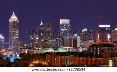 Skyline of downtown Atlanta, Georgia - stock photo