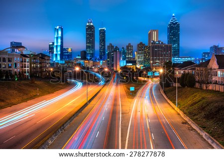 Skyline of downtown Atlanta, Georgia, USA - stock photo