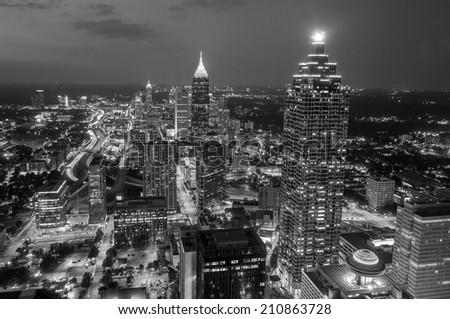 Skyline of downtown Atlanta, Georgia, USA, black, white - stock photo