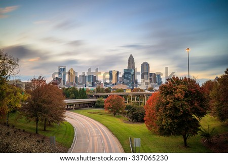 Skyline of downtown Charlotte in north carolina, USA - stock photo