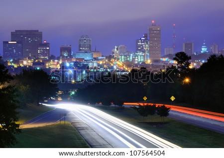 Skyline of downtown Columbia, South Carolina from above Jarvis Klapman Blvd. - stock photo