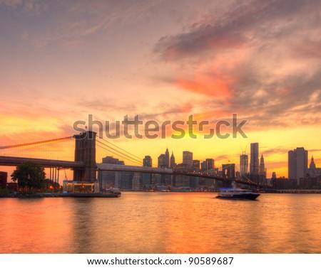 Skyline of Downtown Manhattan in New York City. - stock photo