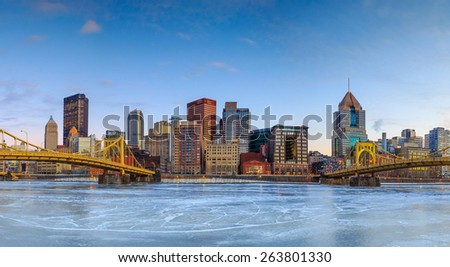 Skyline of downtown Pittsburgh at twilight panorama - stock photo