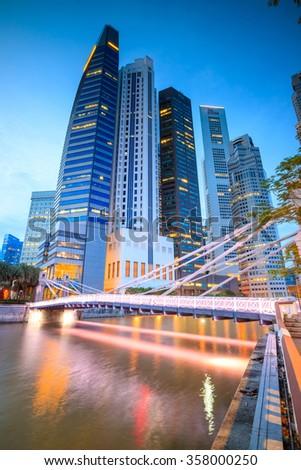 Skyline of downtown Singapore at a beautiful twilight - stock photo