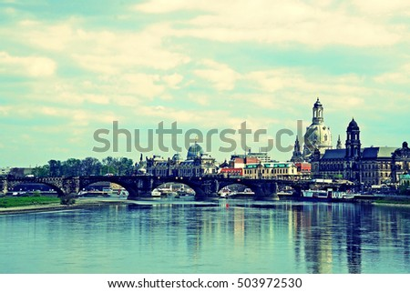 skyline of Dresden with Elbe River , saxony, germany