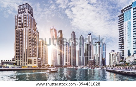 Skyline of Dubai Marina in the evening sun, United Arab Emirates, Middle East - stock photo