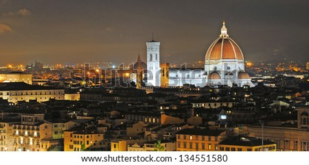 Skyline of Firenze or Florence by night, Italy, Europe