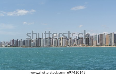 Skyline of Fortaleza viewed from the sea, Praia de Iracema Beach. Ceara, Brazil