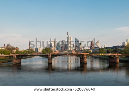 Skyline of Frankfurt city in Germany. Frankfurt is financial center city of Germany.