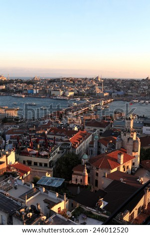 Skyline of Golden Horn at sunset in Istanbul, Turkey - stock photo