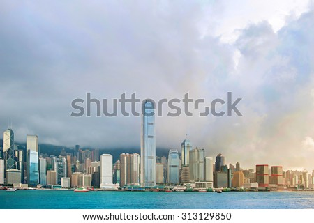 Skyline of Hong Kong island at sunset - stock photo