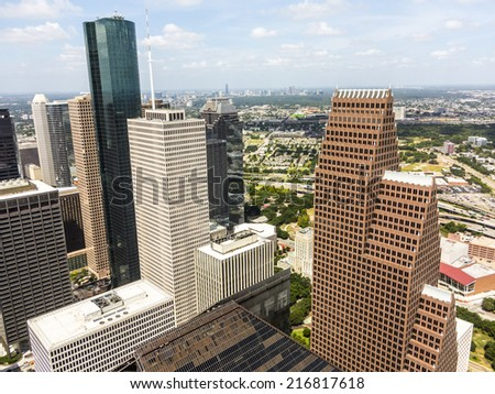 Skyline of Houston, Texas in daytime - stock photo