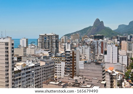 Skyline of Ipanema District in Rio de Janeiro from the Cantagalo Lookout Point - stock photo