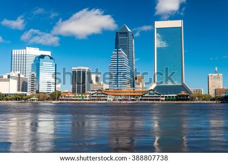 Skyline of Jacksonville against the sky, Florida. - stock photo