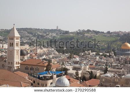 Skyline of Jerusalem, Israel, Middle East, CIRCA March 2015 - stock photo